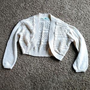 3/$12 crochet shrug cream colored Maurices